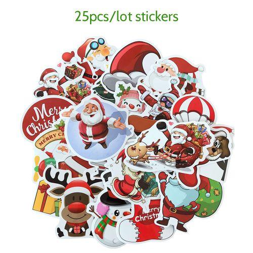 25pcs/lot Merry Christmas 3D Carton Bubble Sticker Santa