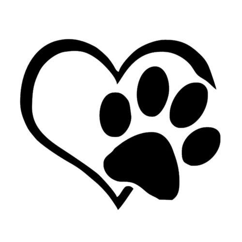 Lodaon Pet Paw Print With Heart Dog Cat Vinyl Decal Car Window Bumper Sticker