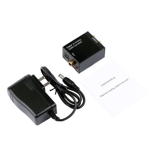Digital Optical Coaxial Toslink Signal To Analog Audio Converter Adapter RCA Black