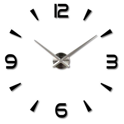 3D DIY Wall Clock Home Modern Decoration Crystal Mirror Sticker Living Room On Sale(black)