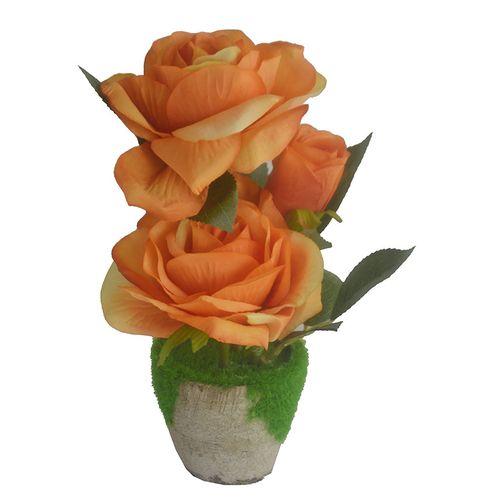 Rose Flower In A Wooden Pot - Orange