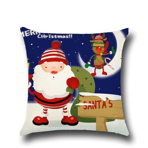 Fashion Christmas Linen Square Throw Flax Pillow Case Decorative Cushion Pillow Cover