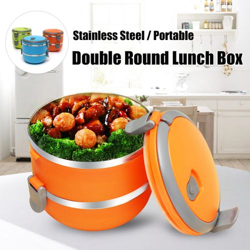 2 Layers Stainless Steel Thermal Lunch Box Bento Food Container