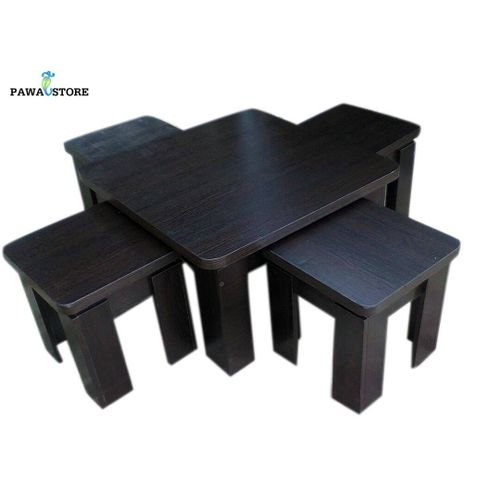 Cute Center Table With 4 Stools- Dark Brown (Delivery Only To Lagos Customers)