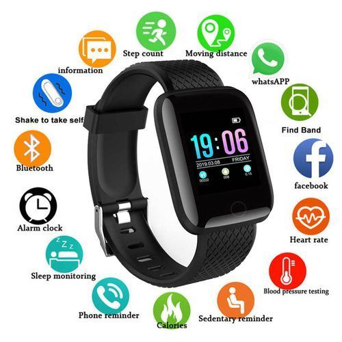 Heart Rate Monitor Fitness Tracker Smart Watch (Black)