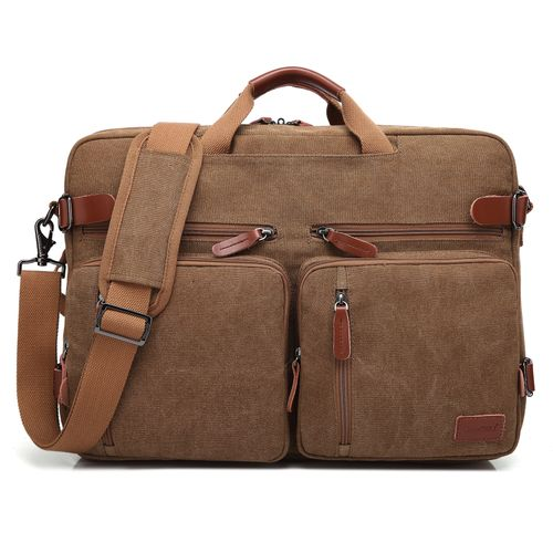 Laptop Convertible Shoulder Messenger Rucksack17.3Inch-Brown