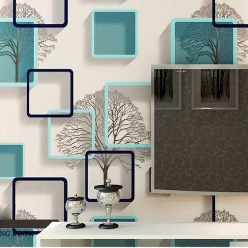 3D PVC Wall Paper White & Blue Square Effect