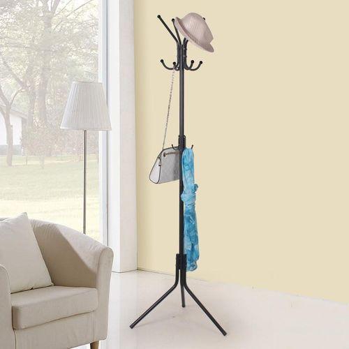 Coat Rack Stand Tree Clothes Holder Hat Hanger Hall Metal Hook Umbrella Storage Black