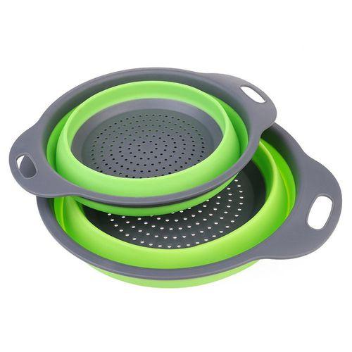 Foldable Silicone Colander Vegetable Washing Basket - Green
