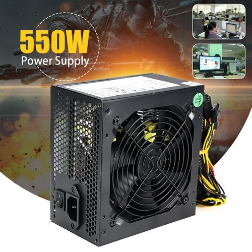 550W 550 Watt 120mm Fan ATX SATA PCI-E Power Supply For Intel AMD PC Unit NEW