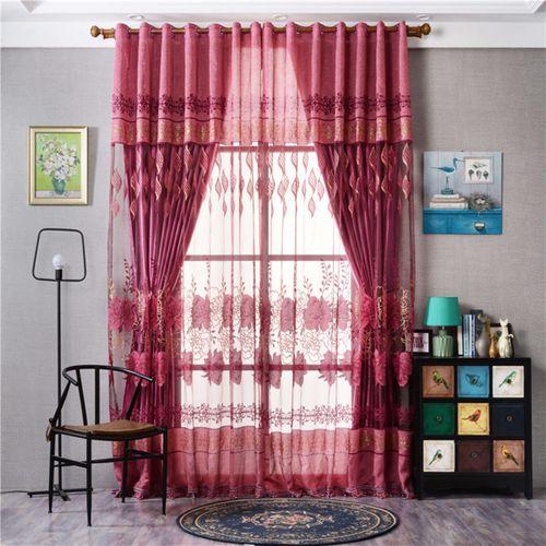2X Valances Floral Tulle Voile Door Window Colors Curtain Drape Panel 250x100cm