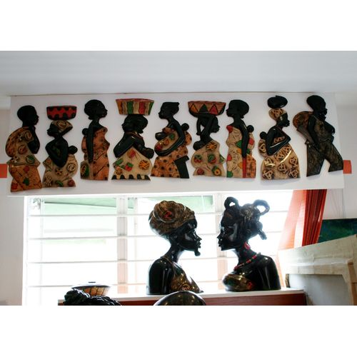African Women Mixed Media On Durable WoodWork 50cm By 20cm.