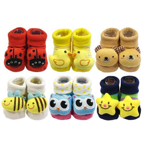 6 Pairs Baby Booties Shoe Socks