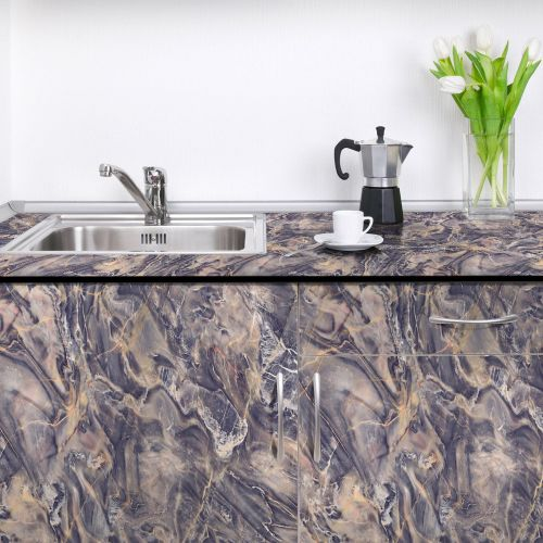 Lodaon Marble Contact Paper Self Adhesive Glossy Worktop Peel Stick Wallpaper Roll