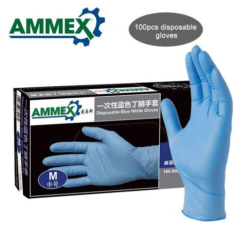 Ammex 100Pcs Disposable Nitrile Rubber Glove Oil Resistant