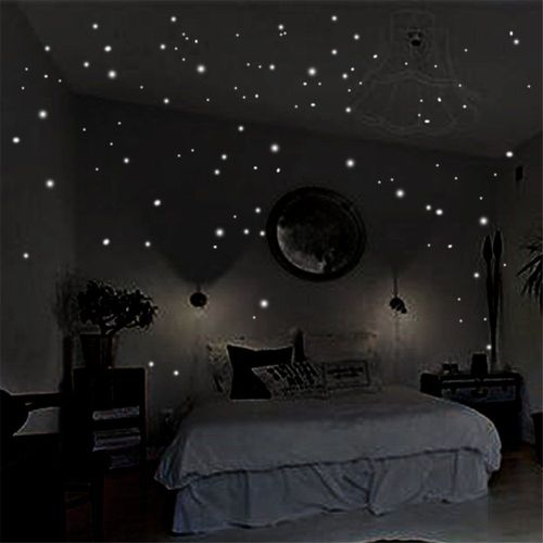 400pcs Wall Stickers Glow In The Dark Star Round Dot Bedroom Ceiling Decor