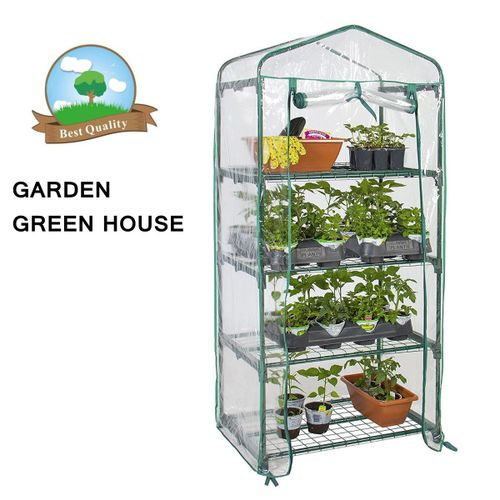 Garden Greenhouse 4-Tier Tall Green Hot Plant House Shed Storage PVC Cover Apex