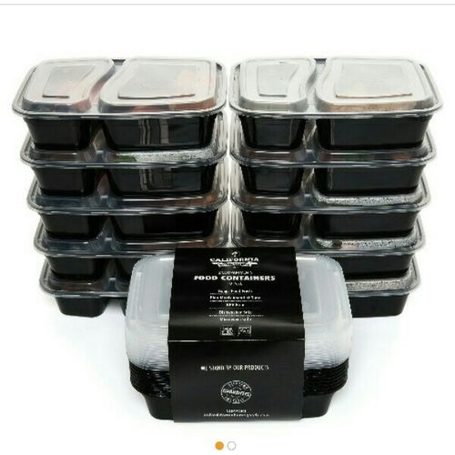 2 Compartment Reusable Food Storage Containers With Lids-10p