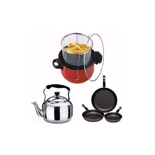 Quality Manual Deep Fryer + Whistling Kettle + 3 Pcs Of Frying Pans