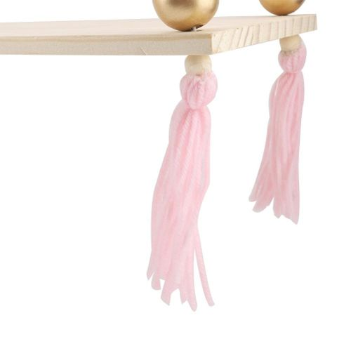 Hanging Shelf On The Wall With Round Beads Decorative Pendant Swing Rope Floating Shelves Storage Shelf With Tassel DIY Home Wall Decoration