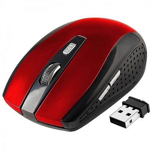 Grace YBC 2.4GHz Wireless Optical Mouse With USB 2.0 Receiver For PC Laptop Red