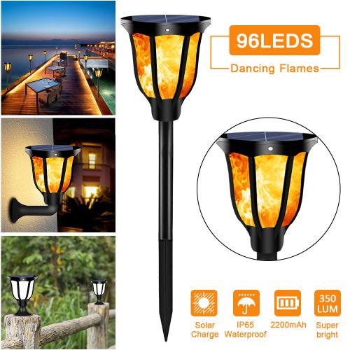 96 LED 350LM Flame Wall Light Solar Power Outdoor Patio Lamp