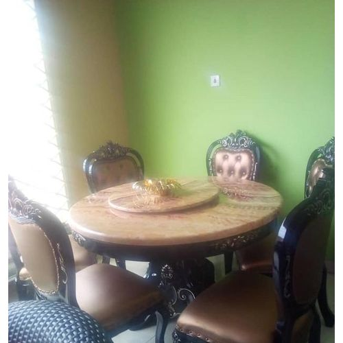 Round Wooden Marble Dinning With 6 Chairs
