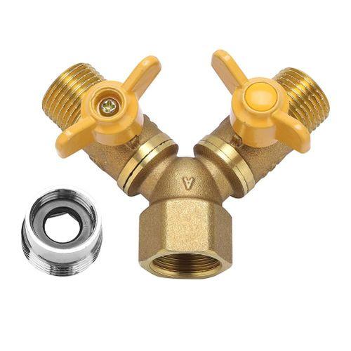 G1/2 Brass Garden Irrigation 2 Way Double Tap Hose Adapter Dual Faucet Connector