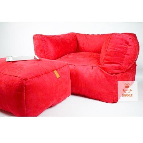 Super Comfort Beanbag Lounger Chair & Leg Rest - Red