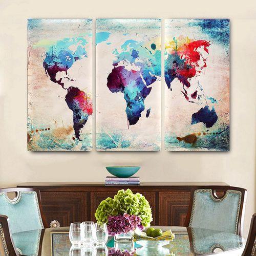 Wall Art Painting-Retro World Map Hang Canvas Prints Unframed
