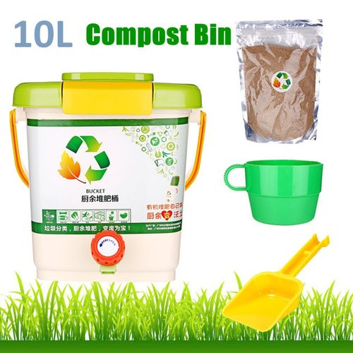 10L Recycle Composter Aerated Compost Bin Bokashi Bucket Kitchen Food Waste # Set
