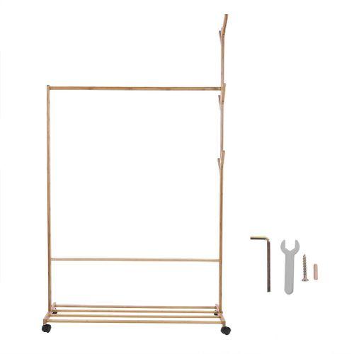 60/80/100 Roller Design Tree Fork Shape Bamboo Cloth Rack Bedroom Storage Arrange Shelf 2019