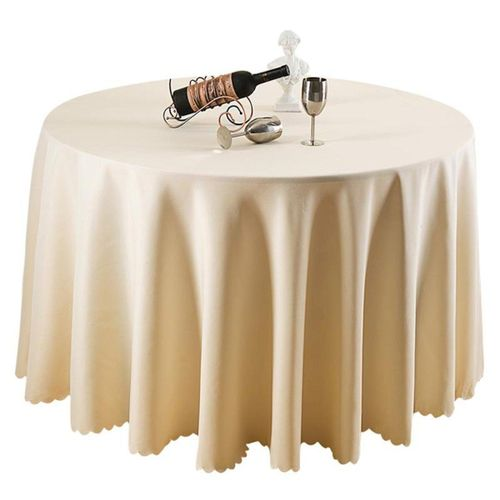 Beige Round Polyester Tablecloth Wedding Party Banquet Dining Table Cloth Cover # 1.8m