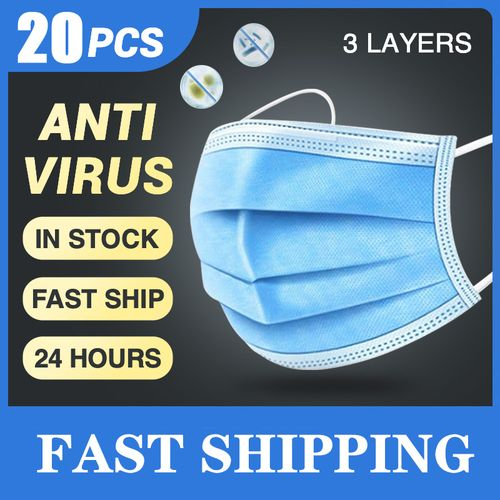 20 Pcs 3 Layer Disposable Protective Face Mouth Masks