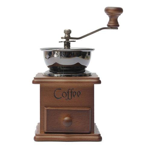 Coffee Bean Nut Spice Herbs Vintage Style Hand Grinder Wooden Mill Fresh Blender
