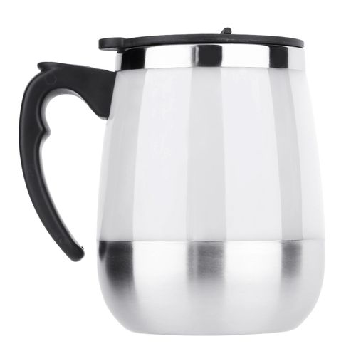 450ml Stainless Self Stirring Mug Auto Mixing Drink Tea Coffee Cup Home (White)
