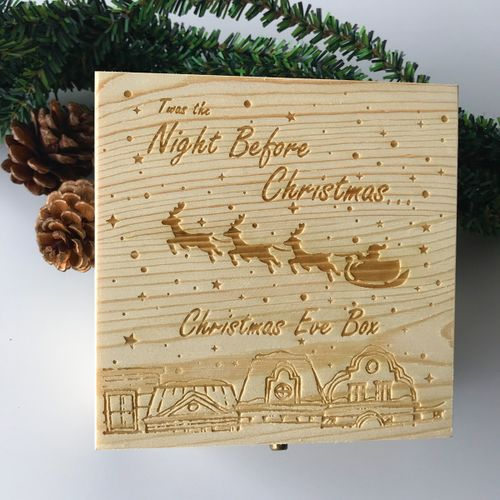 Engraved Bespoke Childrens Wooden Christmas Eve Apple Box Gifts Decor