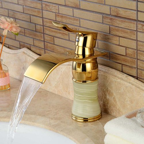 Brass Waterfall Deck Mounted Ceramic Valve One Hole Lmitation Marble Ti-PVD, Bathroom Sink Faucet W/ Single Handle
