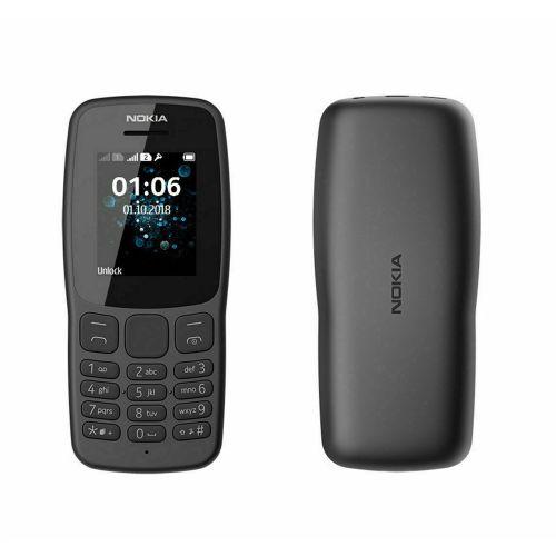 """106 (2018)1.8""""-Dual Sim Grey FM Radio-Big Button Phone"""
