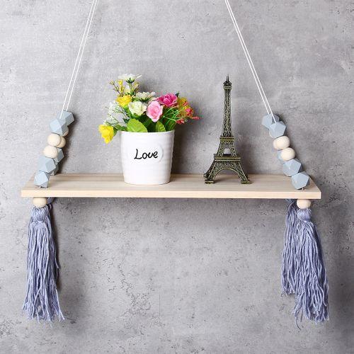 Wood Rope Swing Tassel Floating Wall Swing Shelf Hanging Storage Shelf Display