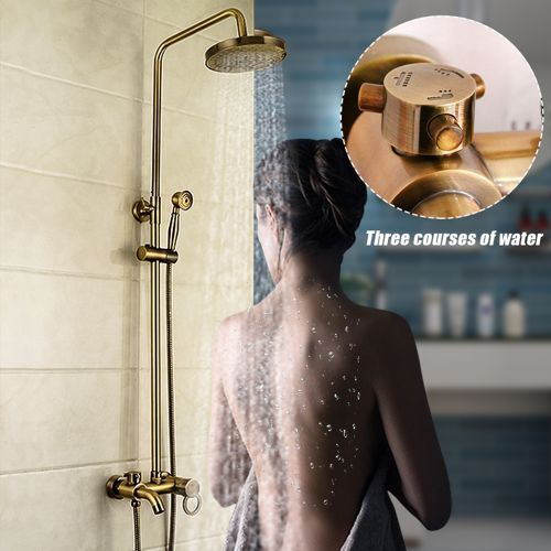 Rainfall Antique Brass Bathroom Shower Head Hand Shower Tub Mixer Tap Faucet