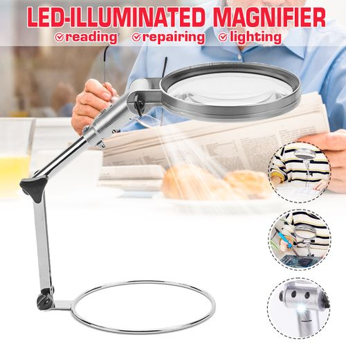 2.5X Glass With Light LED Lamp Magnifier Len Foldable Stand Table