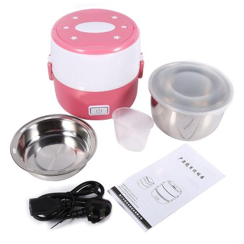 220V 2 Layers Electric Heated Lunch Box (Pink)