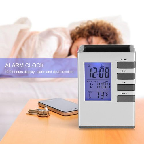 Multi-function LED Digital LCD Screen Temperature Display Alarm Clock Pen Holder Case Gift