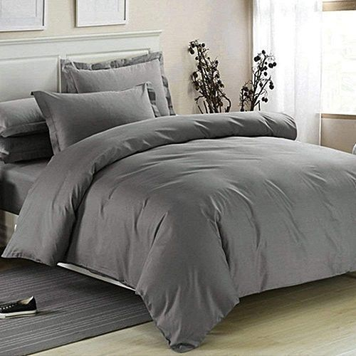 Duvet And Bedsheet + 4 Pillow Cases - Plain Grey.