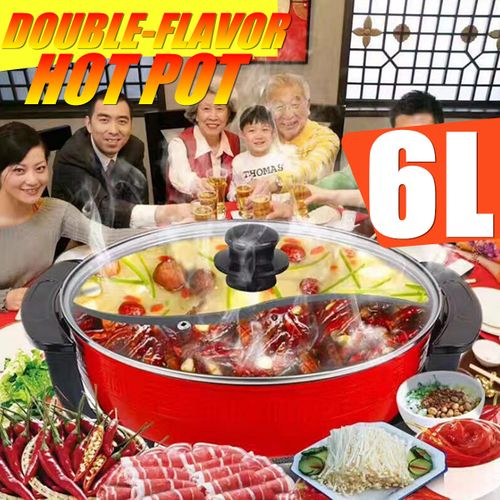 1800W Electric Home Twin Double Divided Hot Pot Shabu Non-Stick Smokeless