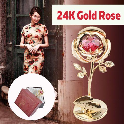 24K Gold Plated Rose Flower Diamond Valentine Gift Birthday Lover Anniversary