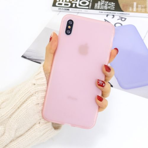 For IPhone XS / X 1.5mm Emulsion Translucent TPU Case(Pink)