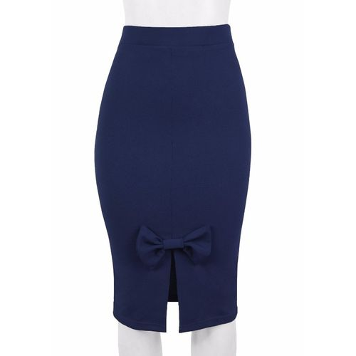 Ladies Pencil Skirt With Bow - Blue