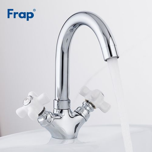 Frap Deck Mounted Basin Faucet Dual Handle Bathroom Chrome Finished Sink Faucets Hot And Cold Water Mixer Tap Torneira F1318 HLI
